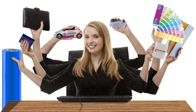 Reclame abc vrouw met reclame producten
