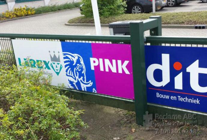 Reclame ABC reclameborden Larex Pink en Dit breed