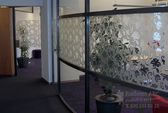 Reclame ABC windowfilm etch folie met bloemen patroon2