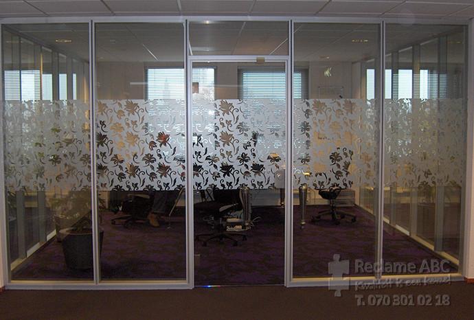 Reclame ABC windowfilm etch folie met bloemen patroon
